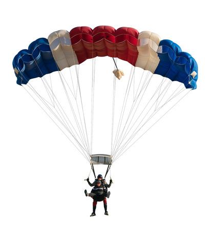 Extreme sport skydiver nahaufnahme auf einem weißen hintergrund