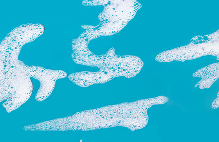 abstract background, soap foam on a blue background Stock Photo