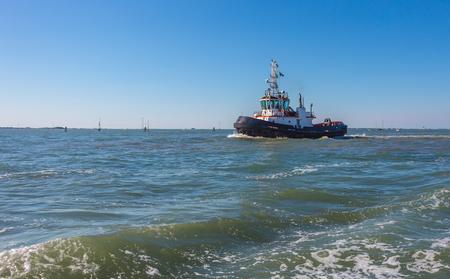 boat is floating along the coast Stockfoto