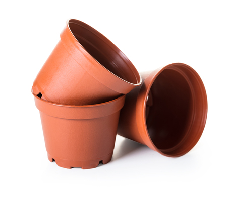 new flower pots on white isolated background