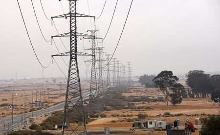 industrial landscape, electric poles in the desert
