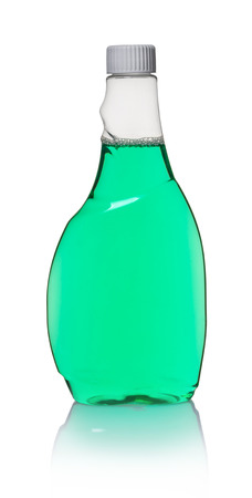detergent in bottle on white isolated background