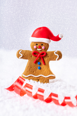 ginger man in the snow, festive background
