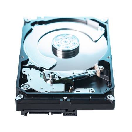 disassembled computer hard drive on white isolated background 写真素材