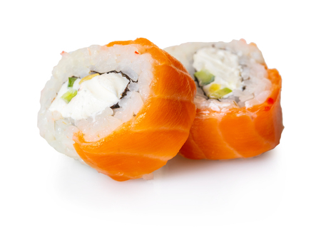 Japanese food, rolls on white isolated background 写真素材