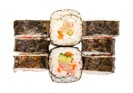 sushi roll set on white isolated background 版權商用圖片