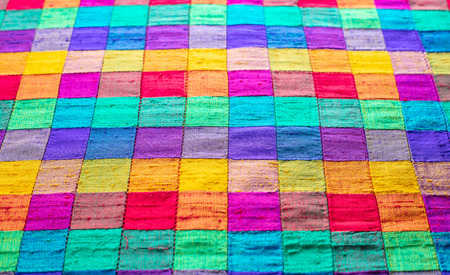 abstract background of multi-colored check fabric texture Stock Photo