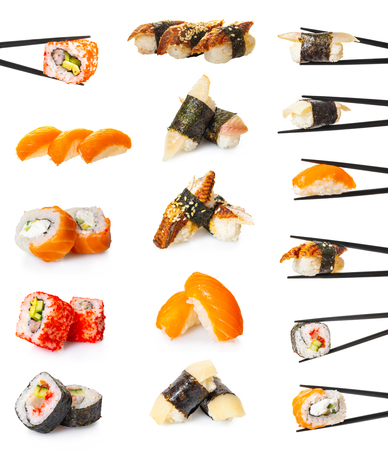 sushi roll set on white isolated background Stock Photo