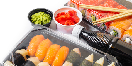 sushi set in a package on white isolated background