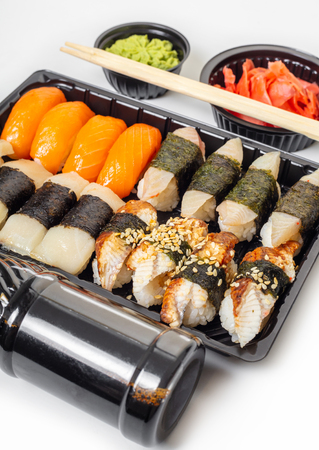 sushi set in a package on white background
