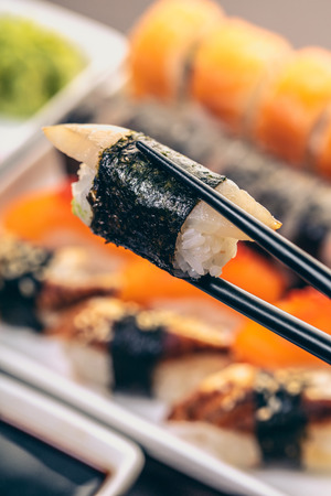 Japanese cuisine, sticks keep sushi with eel
