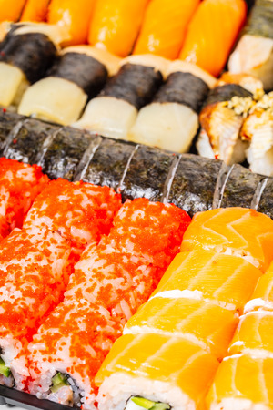 food background, sushi set closeup asian cuisine