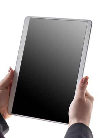 woman holds tablet in hands on white isolated background