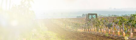 rural landscape, tractor cultivates agricultural land