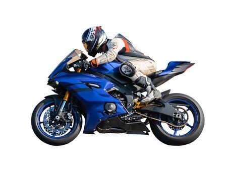 motociclista sportivo pilota su sfondo bianco isolato