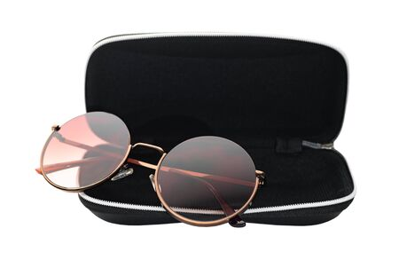 summer glasses in a case on a white isolated background Banque d'images