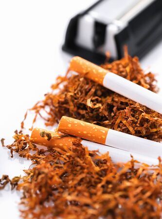 cigarette machine with tobacco and cigarettes on a white background