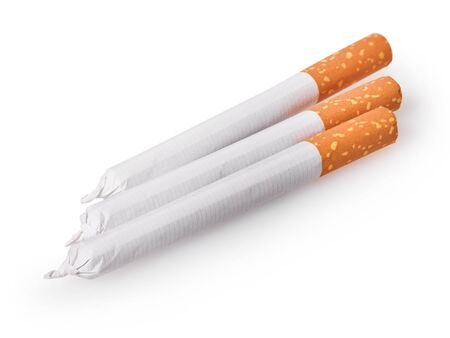 cigarettes close-up on a white isolated background