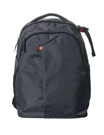 Nueva mochila closeup aislado sobre un fondo blanco. Foto de archivo
