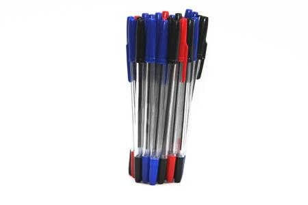 biro: blue biro on white, notes to write Stock Photo