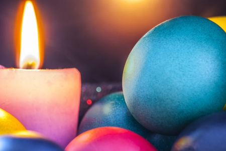 Blue, red, yellow, green eggs in easter time Stock Photo - 18609539