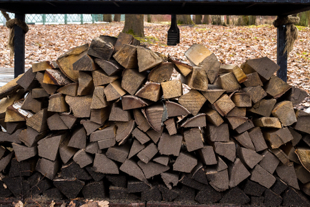 outdoor fireplace: fire woods Stock Photo
