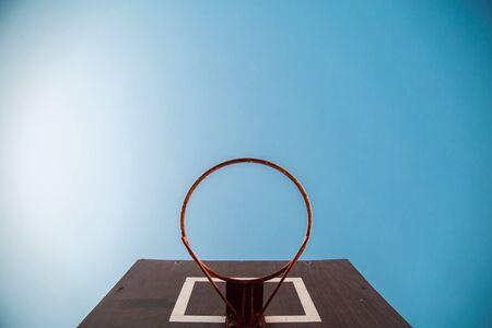 basketball hoop viewed from below,focus on red zone Stock Photo