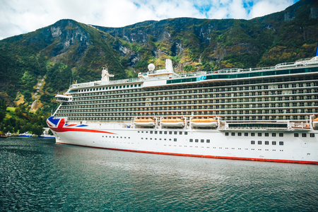 Large Cruise ship in the port of Flam, Norway.