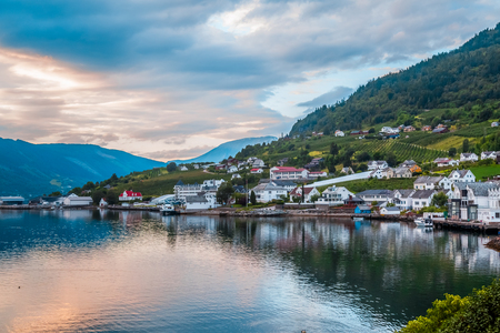 northern light: Norway urban Landscape. The view of the sunset in one of the cities of Norway Lofthus, Europe