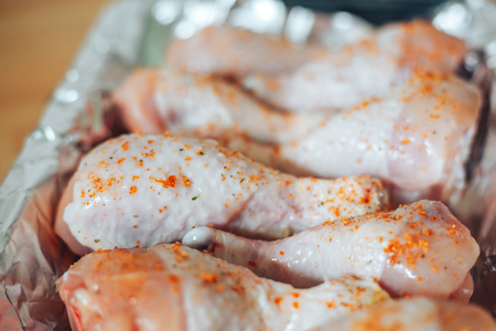 paper textures: Baking sheet with chicken legs Stock Photo