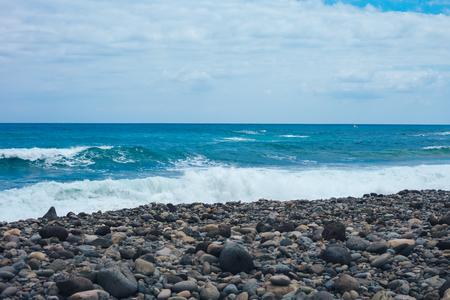 Big breaking Ocean wave on a sandy beach on the north shore of Oahu Hawaii Foto de archivo