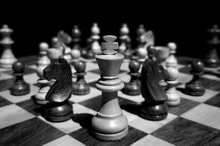 Still life shot of king and other pieces on wooden chess board with blurred background