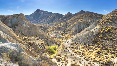 Desert Tabernas in Andalusia. Landscape photo: view to the desert of Tabernas in the South of Andalusia (Spain). Stok Fotoğraf