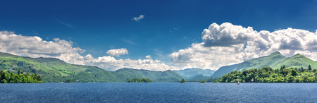 Lake District in Northern England. View over the lake at Keswick in north gland with mountains in the background.
