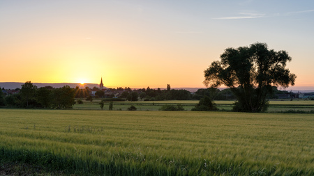 French countryside - Lorraine. A small village surrounded by wheat fields with hills in the background at sunset