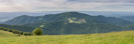 French countryside - Vosges. Panoramic view to a valley in the Vosges. In the background you can admire the Alps. Stock Photo