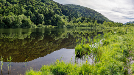 French countryside - Vosges. A small natural lake in a valley of the Vosges.