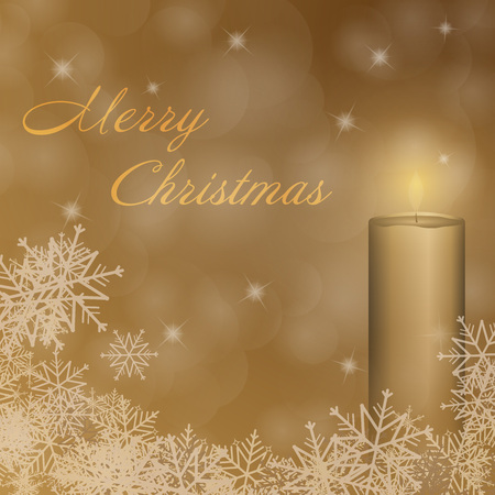 Christmas time. The first Advent with candle and Christmas landscape. Text: Merry Christmas.
