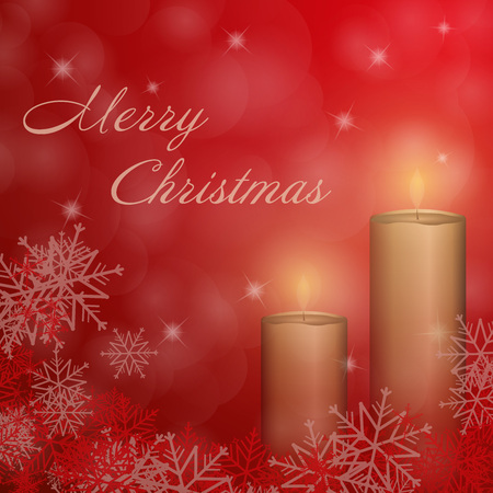 Christmas time. The second Advent with candle and Christmas landscape. Text: Merry Christmas.