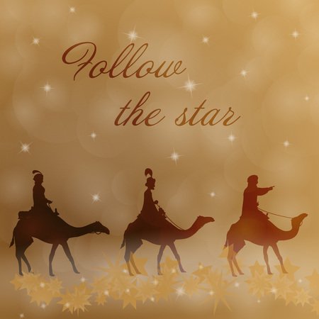 Christmas time. The three kings follow the star to Bethlehem. Text: Follow the star.