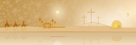 イエスの生涯。神聖な 3 人の王、飼い葉桶、ゴルゴダの十字架?パノラマの空の墓。