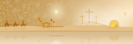 The life of Jesus. Holy three kings, the manger, the cross of Golgotha ??and the empty tomb in a panorama. Stock Photo