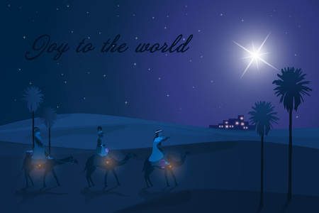 Christmas time. The three kings follow the star to Bethlehem in blue landscape. Text: Joy to the world. Banco de Imagens
