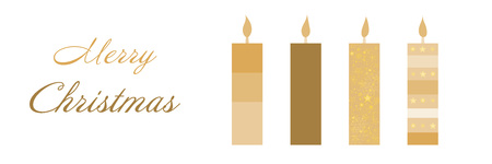 Christmas time. Christmas card with four candles in golden colors. Text: Merry Christmas.