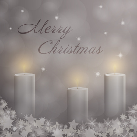 Advent with 3 candles and Christmas landscape with Merry Christmas text.