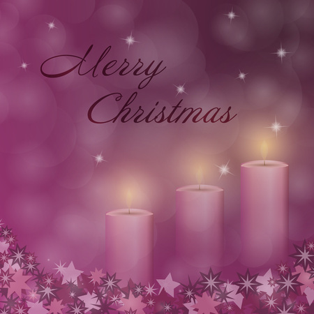 Christmas time. Advent with 3 candles and Christmas landscape. Text: Merry Christmas. Illustration