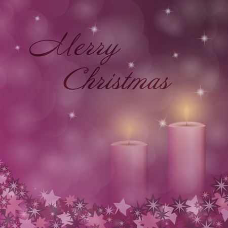 Advent with 2 candles and Christmas landscape with Merry Christmas text.