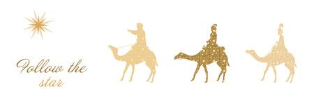 De drie koningen volgen de ster naar Bethlehem met Follow the star text.