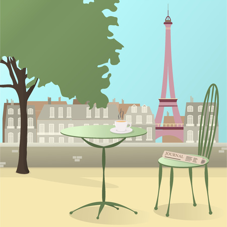 Lets go to Paris. Cup of coffee with newspaper and Paris over pistachio colors.