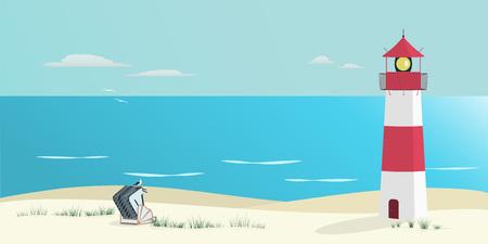 Zomerlandschap Noordzee op het strand met vuurtoren, overdekte rieten strandstoel en zeemeeuw. Stock Illustratie